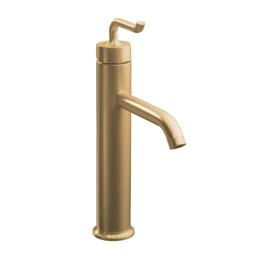 KOHLER Purist Vibrant Brushed Bronze 1-Handle Single Hole WaterSense Bathroom Faucet (Drain Included)