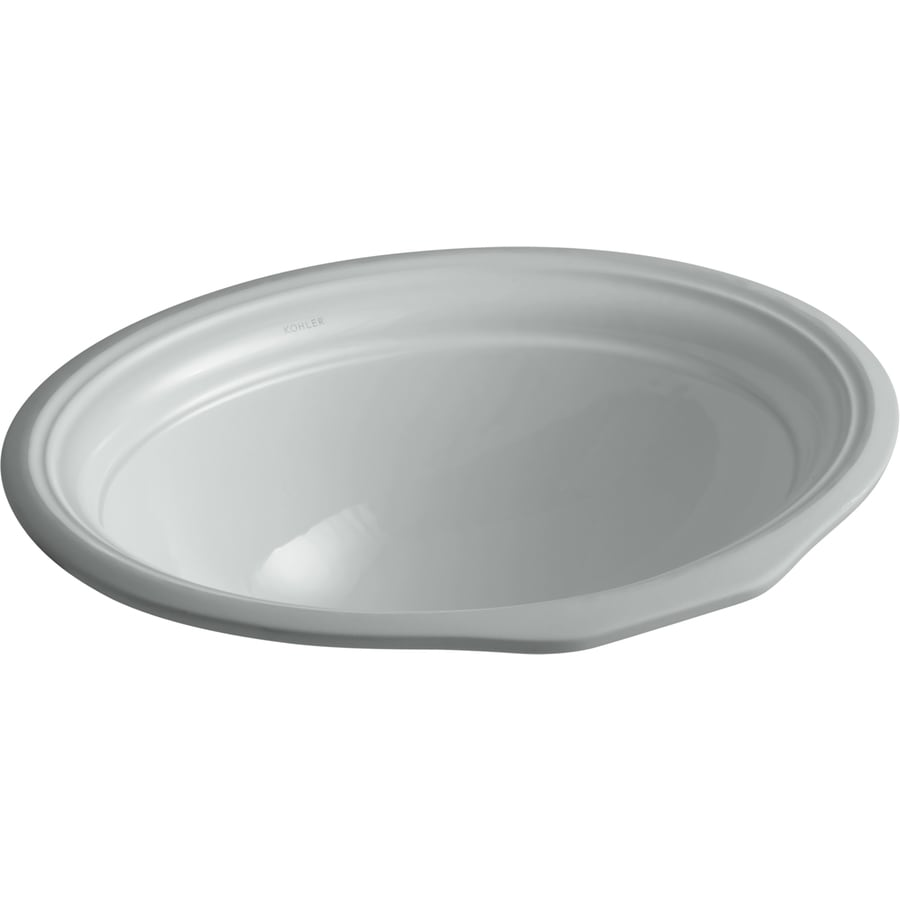 KOHLER Devonshire Ice Grey Undermount Oval Bathroom Sink with Overflow