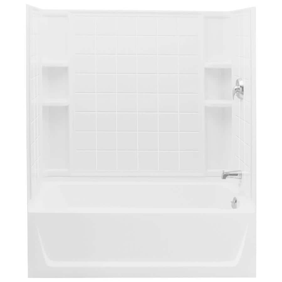 Sterling Ensemble White Fiberglass and Plastic Composite Rectangular Skirted Bathtub with Right-Hand Drain (Common: 32-in x 60-in; Actual: 74-in x 32-in x 60.25-in)