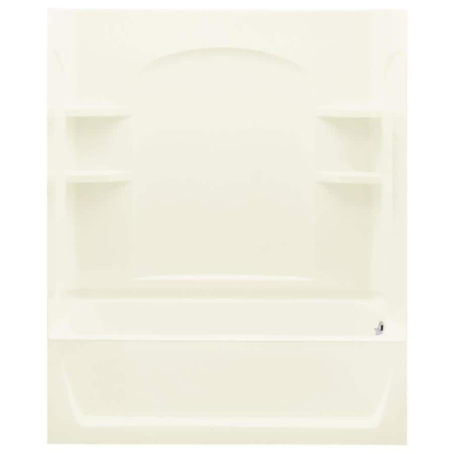 Sterling Skirted Biscuit Fiberglass and Plastic Composite Rectangular Skirted Bathtub with Right-Hand Drain (Common: 32-in x 60-in; Actual: 76-in x 32-in x 60.25-in)