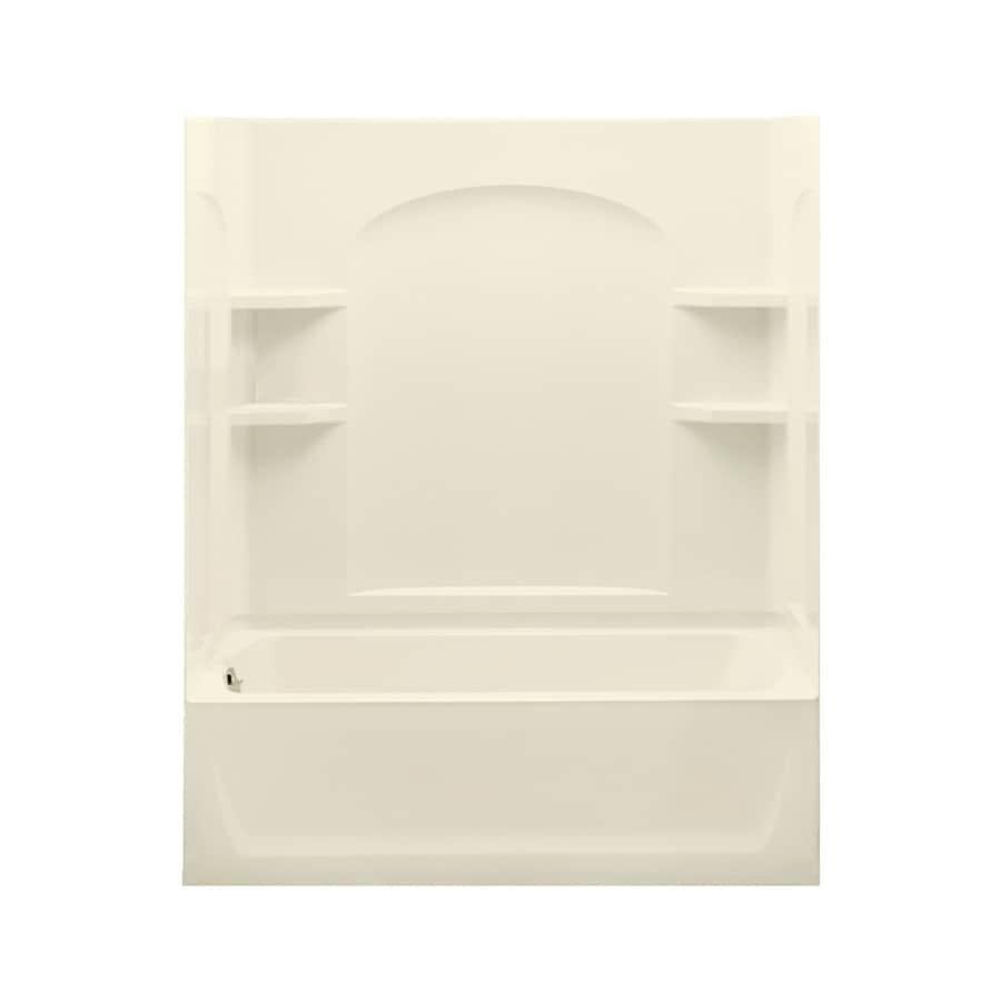 Sterling Skirted Biscuit Fiberglass and Plastic Composite Rectangular Skirted Bathtub with Left-Hand Drain (Common: 32-in x 60-in; Actual: 76-in x 32-in x 60.25-in)