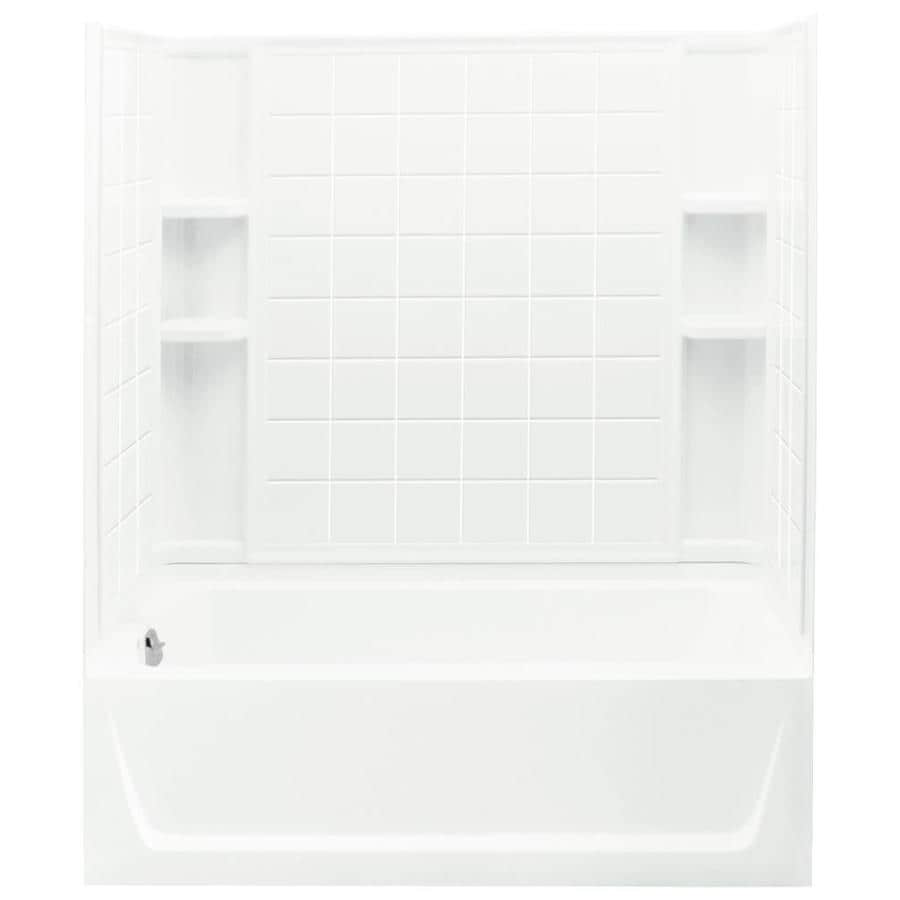 Sterling Ensemble White Fiberglass and Plastic Composite Rectangular Skirted Bathtub with Left-Hand Drain (Common: 32-in x 60-in; Actual: 76-in x 32-in x 60.25-in)