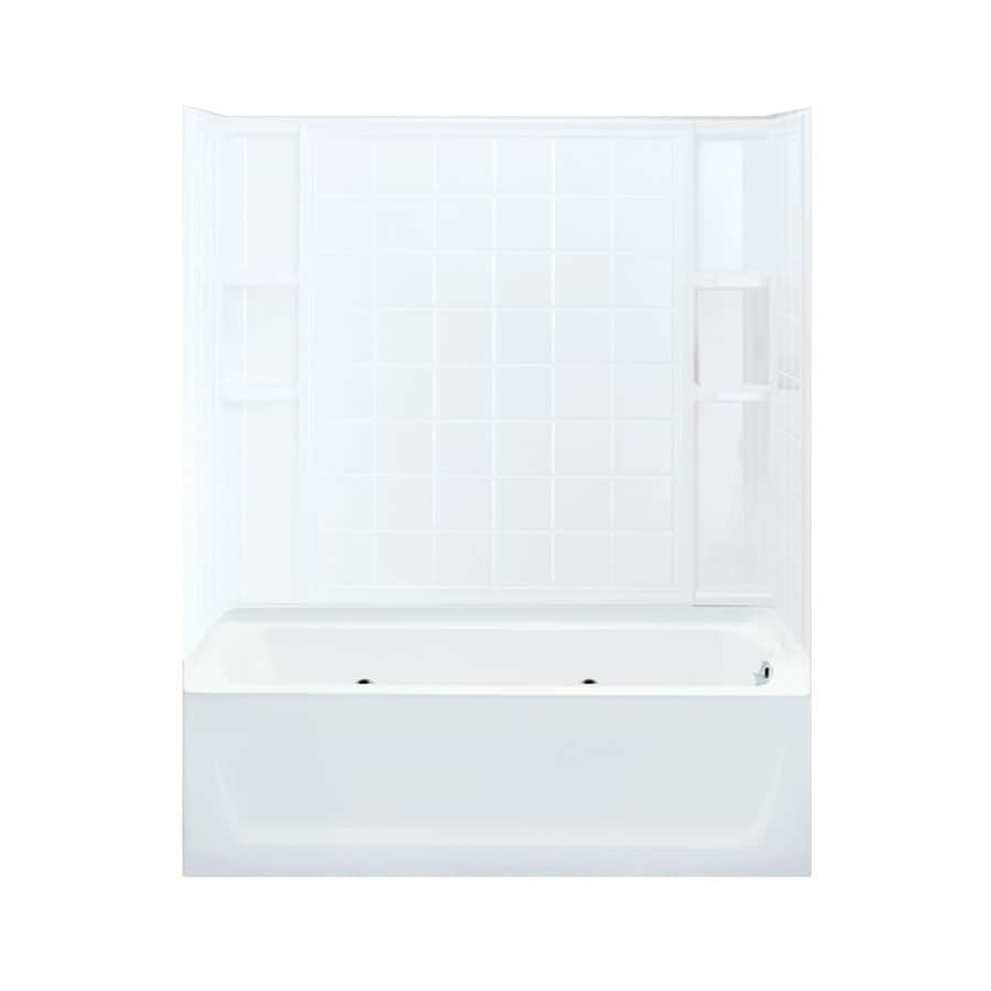 Sterling Ensemble White Fiberglass and Plastic Oval In Rectangle Whirlpool Tub (Common: 32-in x 60-in; Actual: 75.25-in x 33.25-in x 60.25-in)