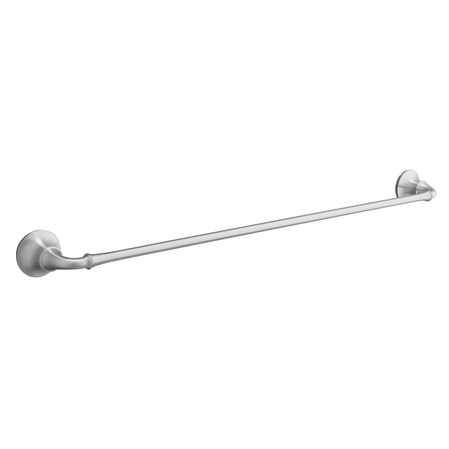 KOHLER Forte Brushed Chrome Single Towel Bar (Common: 24-in; Actual: 26.5-in)