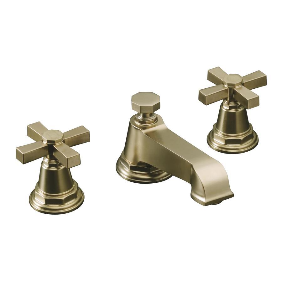 KOHLER Pinstripe Vibrant Brushed Bronze 2-Handle Widespread WaterSense Bathroom Faucet (Drain Included)