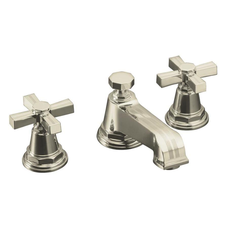KOHLER Pinstripe Polished Nickel 2-Handle Widespread WaterSense Bathroom Faucet (Drain Included)