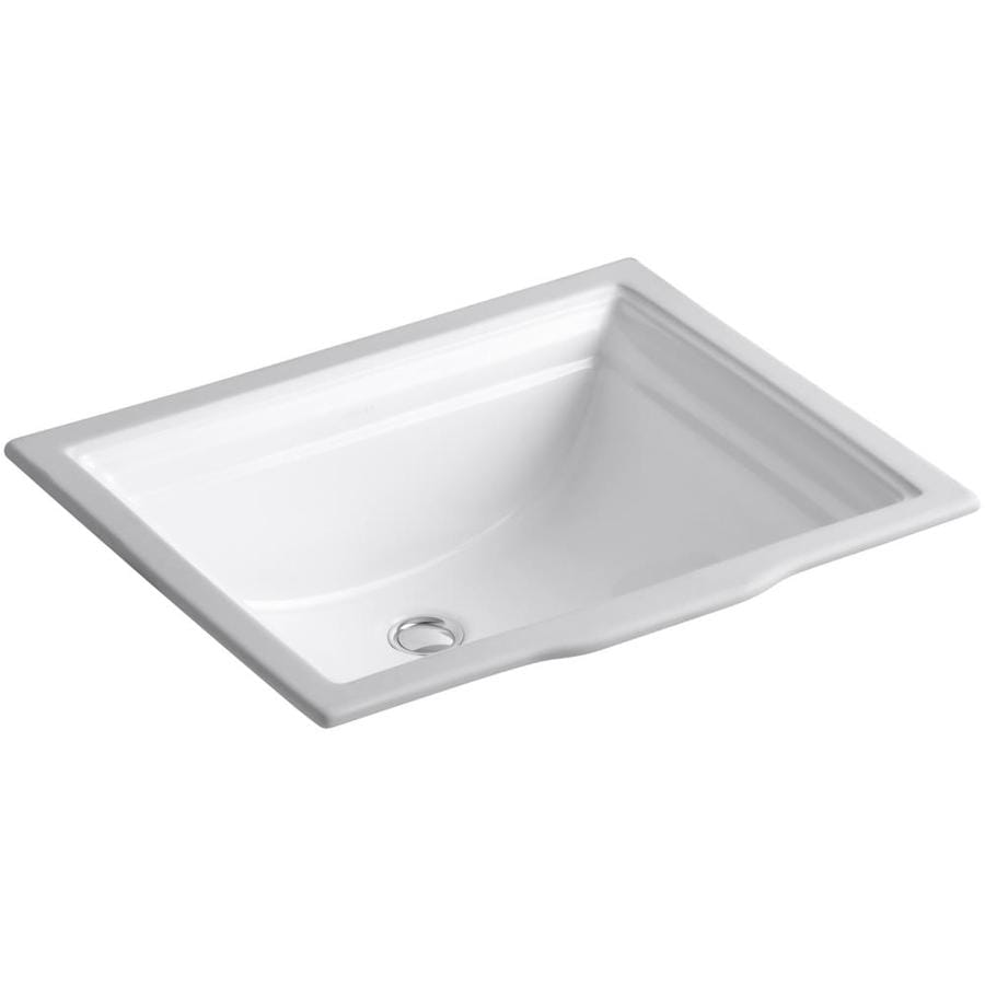 White Undermount Sink : Shop KOHLER Memoirs White Undermount Rectangular Bathroom Sink with ...