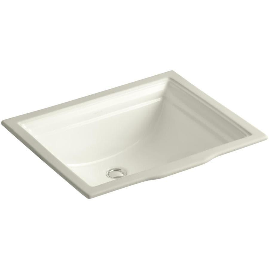 KOHLER Memoirs Biscuit Undermount Rectangular Bathroom Sink with Overflow