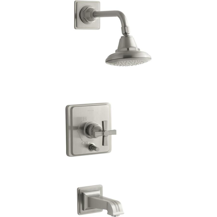 KOHLER Pinstripe Vibrant Brushed Nickel 1-Handle Bathtub and Shower Faucet Trim Kit with Single Function Showerhead