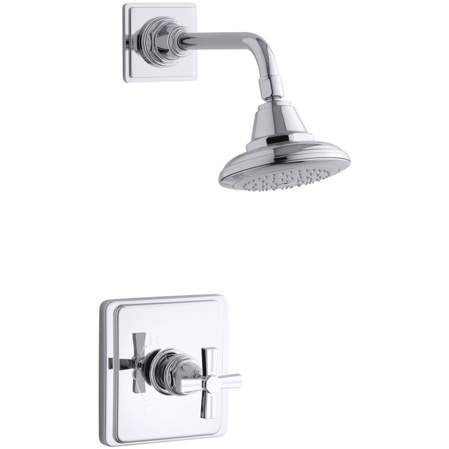 KOHLER Pinstripe Polished Chrome 1-Handle Shower Faucet Trim Kit with Single Function Showerhead