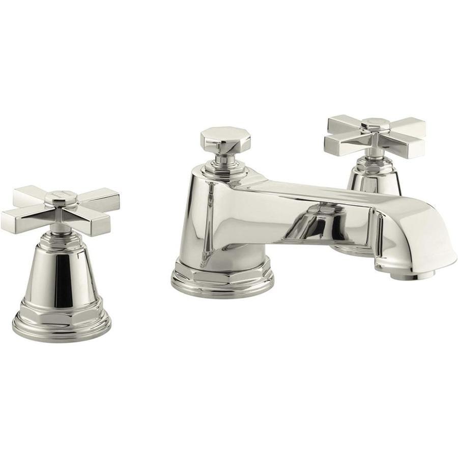 KOHLER Pinstripe Vibrant Polished Nickel 2-Handle Fixed Deck Mount Bathtub Faucet