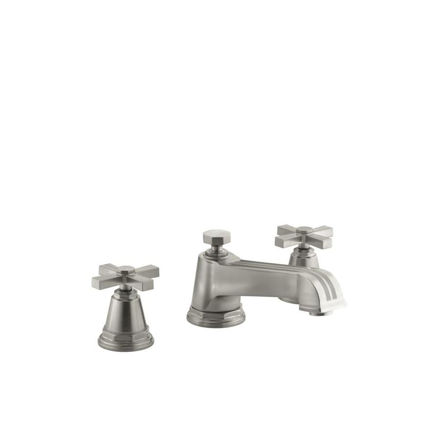 KOHLER Pinstripe Vibrant Brushed Nickel 2-Handle Fixed Deck Mount Bathtub Faucet