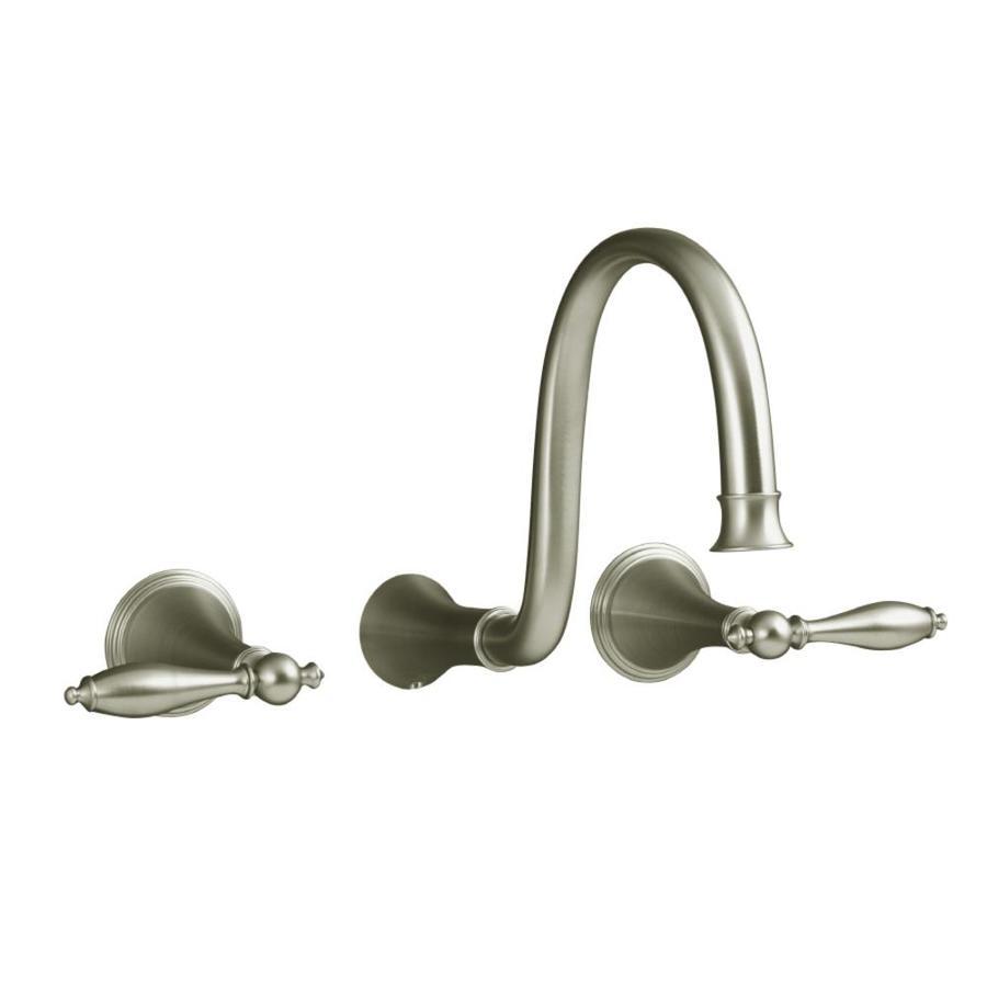 KOHLER Finial Vibrant Brushed Nickel 2-Handle Widespread WaterSense Bathroom Faucet