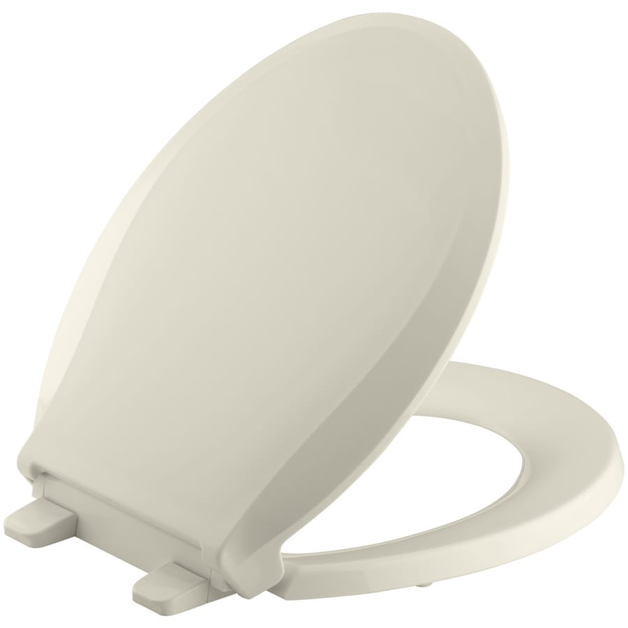 KOHLER Grip-Tight Cachet Almond Plastic Round Slow Close Toilet Seat
