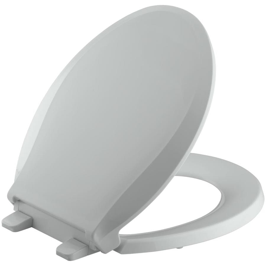 KOHLER Grip-Tight Cachet Ice Grey Plastic Round Slow Close Toilet Seat