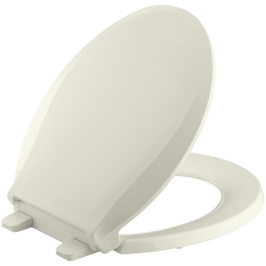 KOHLER Grip-Tight Cachet Biscuit Plastic Round Slow-Close Toilet Seat