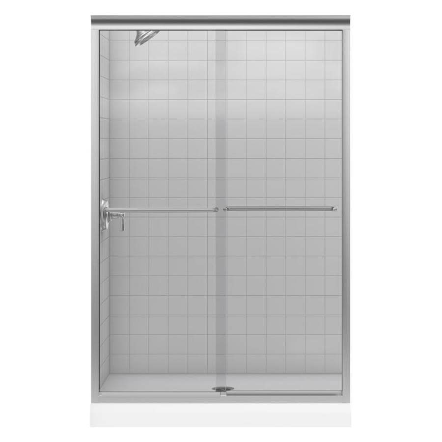 KOHLER Fluence 44-in to 47-in W x 70-in H Brushed Nickel Sliding Shower Door