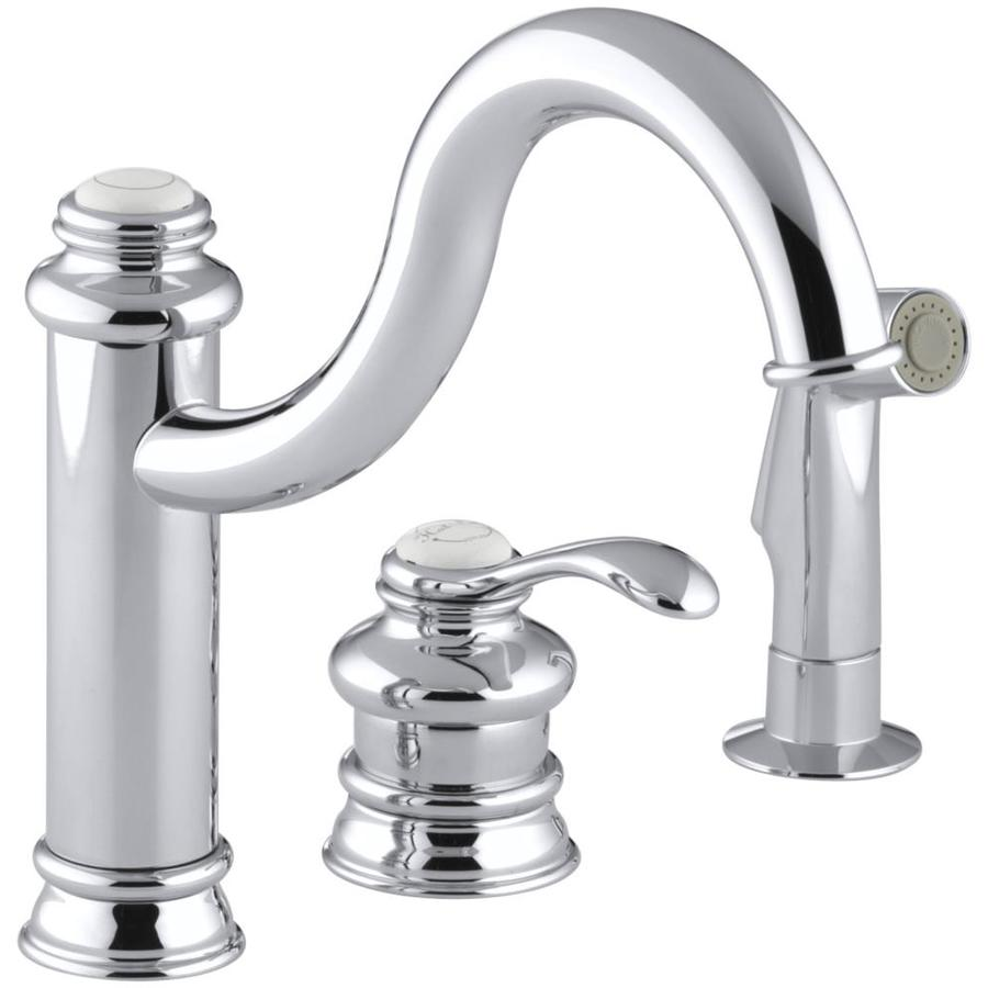 Kohler Kitchen Faucet With Side Spray : Kohler fairfax polished chrome handle high arc kitchen faucet with side spray at lowes