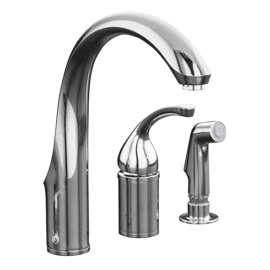 Shop Kohler Forte Polished Chrome 1 Handle High Arc Kitchen Faucet With Side Spray At Lowes Com