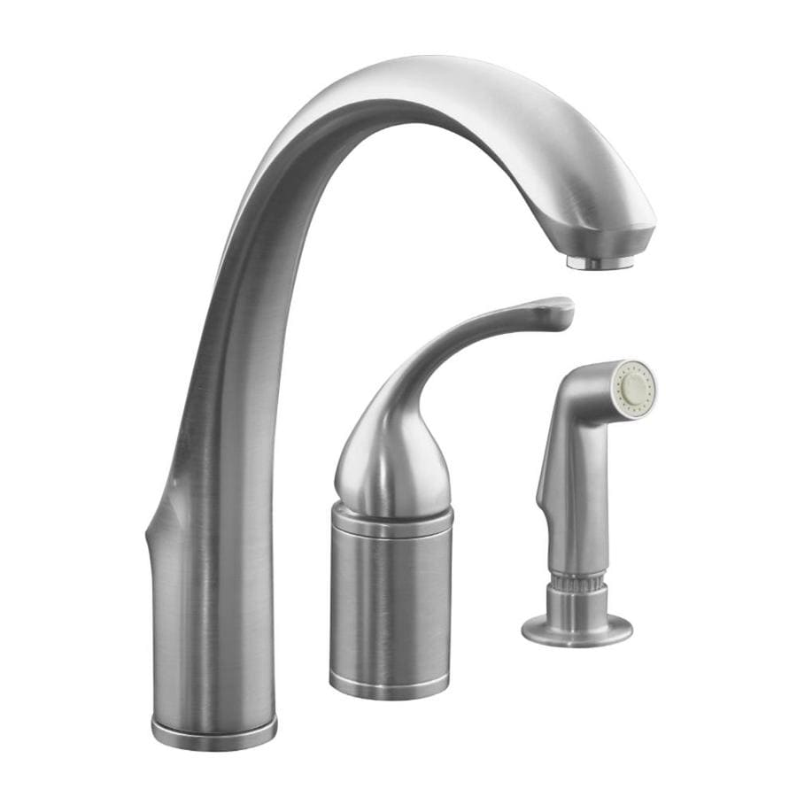 Kohler Kitchen Faucet With Side Spray : Kohler forte brushed chrome handle high arc kitchen faucet with side spray at lowes