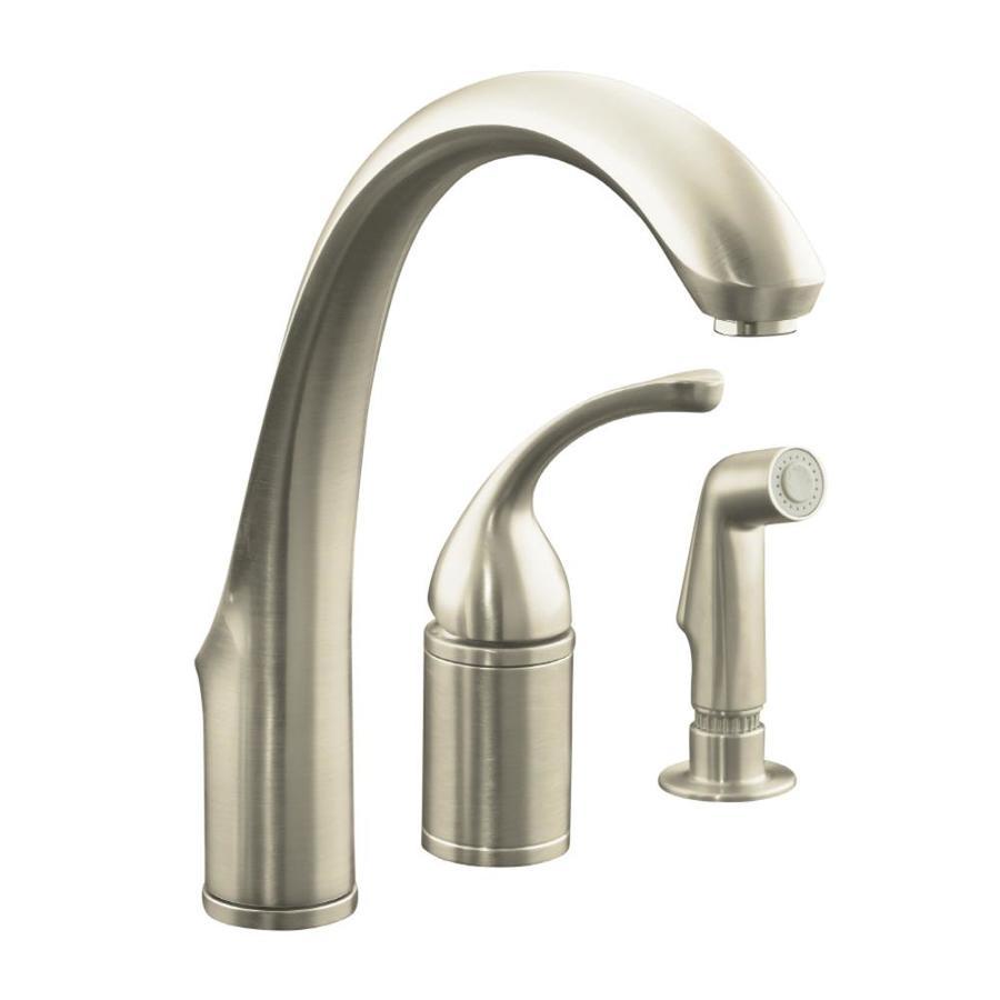 KOHLER Forte Vibrant Brushed Nickel 1-Handle High-Arc Kitchen Faucet with Side Spray