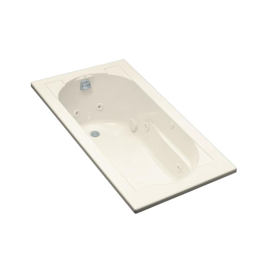 KOHLER Devonshire Almond Acrylic Oval In Rectangle Whirlpool Tub (Common: 32-in x 60-in; Actual: 20-in x 32-in x 60-in)