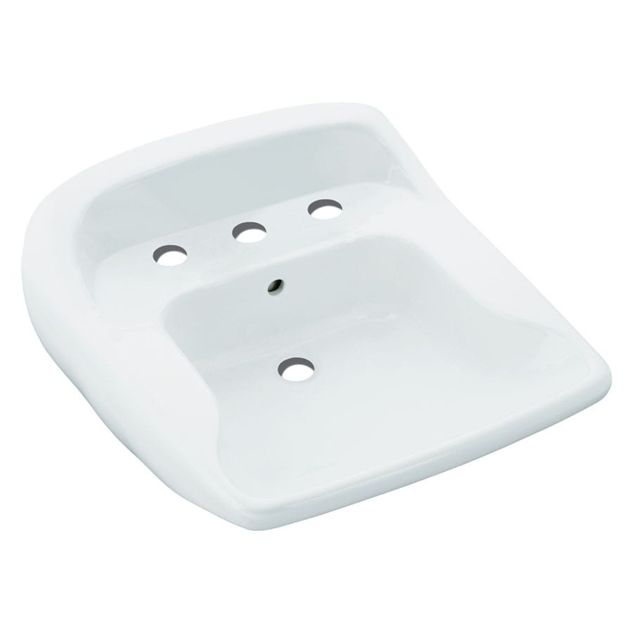 Sterling Worthington White Wall-Mount Oval Bathroom Sink with Overflow