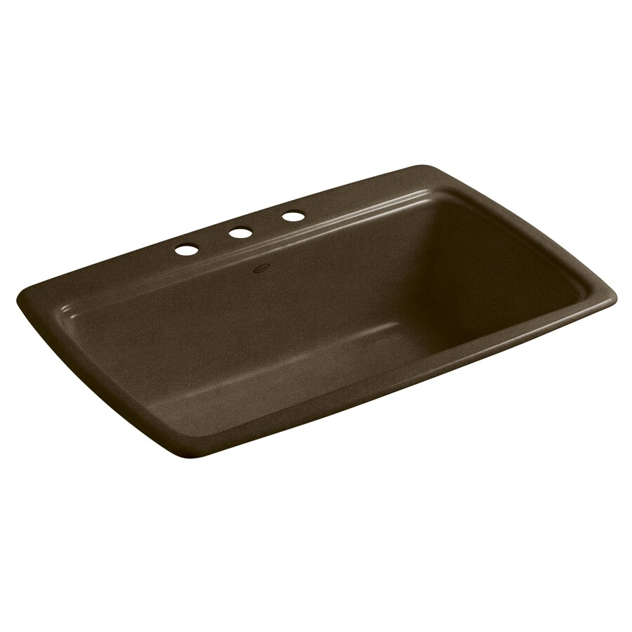KOHLER Cape Dory 22-in x 33-in Black and Tan Single-Basin Cast Iron Drop-in 3-Hole Residential Kitchen Sink