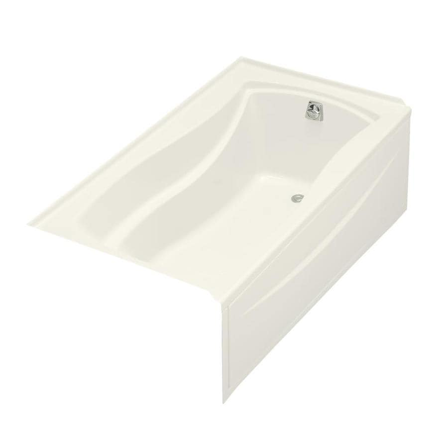 KOHLER Mariposa Biscuit Acrylic Hourglass In Rectangle Alcove Bathtub with Right-Hand Drain (Common: 36-in x 66-in; Actual: 20-in x 36-in x 66-in)