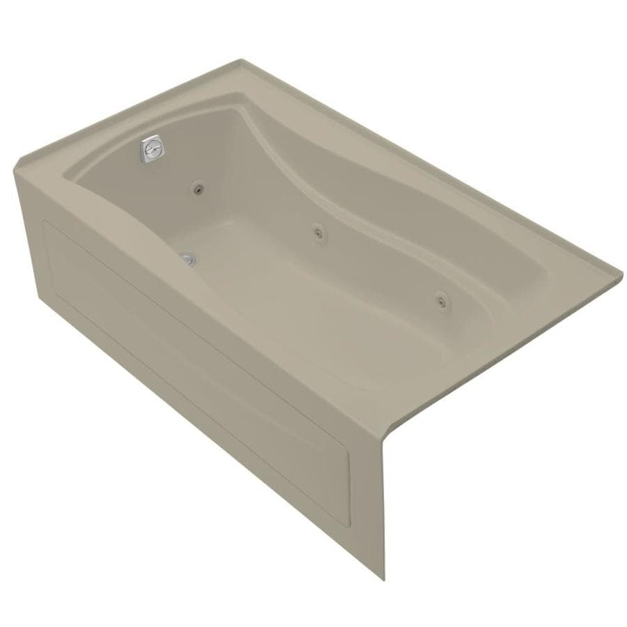 KOHLER Mariposa Sandbar Acrylic Rectangular Whirlpool Tub (Common: 36-in x 66-in; Actual: 20-in x 36-in x 66-in)