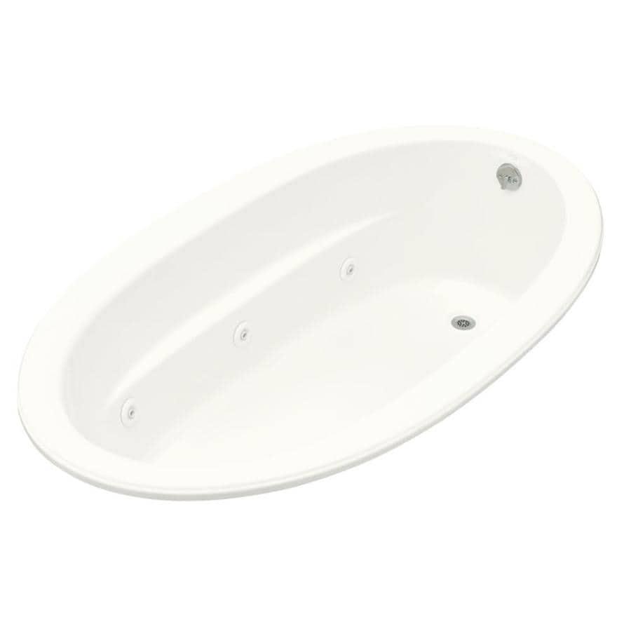KOHLER Sunward White Acrylic Oval Whirlpool Tub (Common: 42-in x 72-in; Actual: 21-in x 42-in x 72-in)