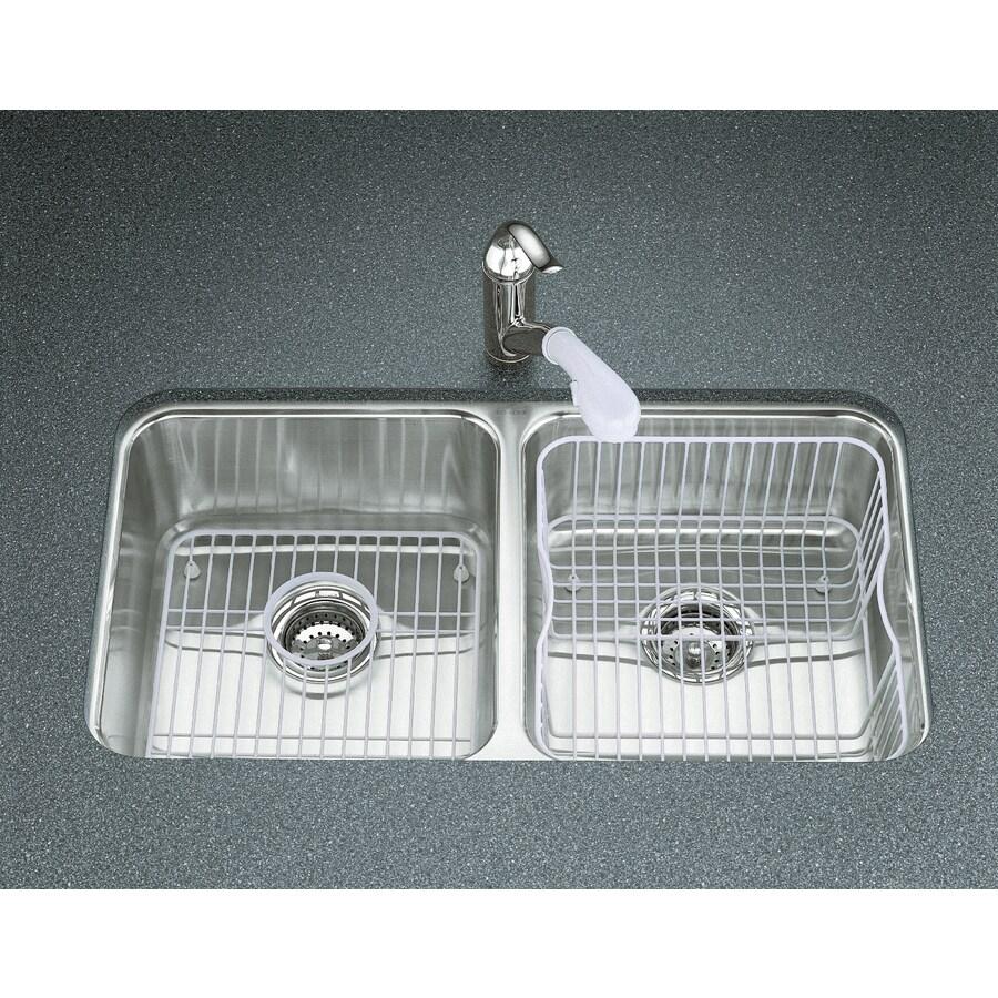 KOHLER Undertone 18-in x 31.5-in Stainless Steel Double-Basin Undermount Residential Kitchen Sink