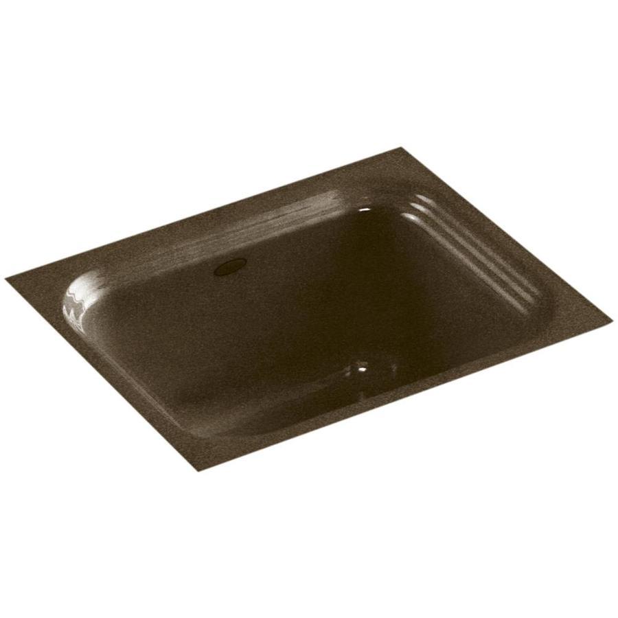 KOHLER Northland Black and Tan Single-Basin Cast Iron Drop-in Commercial Bar Sink
