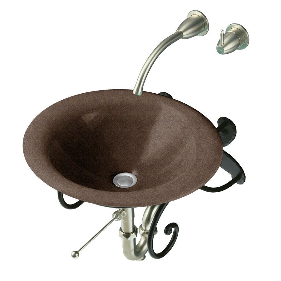KOHLER Iron Bell Black and Tan Cast Iron Drop-in Oval Bathroom Sink