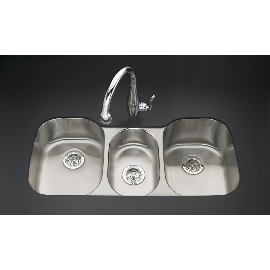 KOHLER Undertone 20.12-in x 41.62-in Stainless Steel Triple-Basin Undermount Residential Kitchen Sink