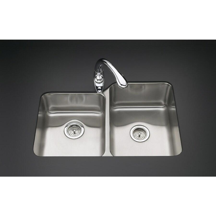 KOHLER Undertone 20.87-in x 31.5-in Stainless Steel Double-Basin Undermount Residential Kitchen Sink