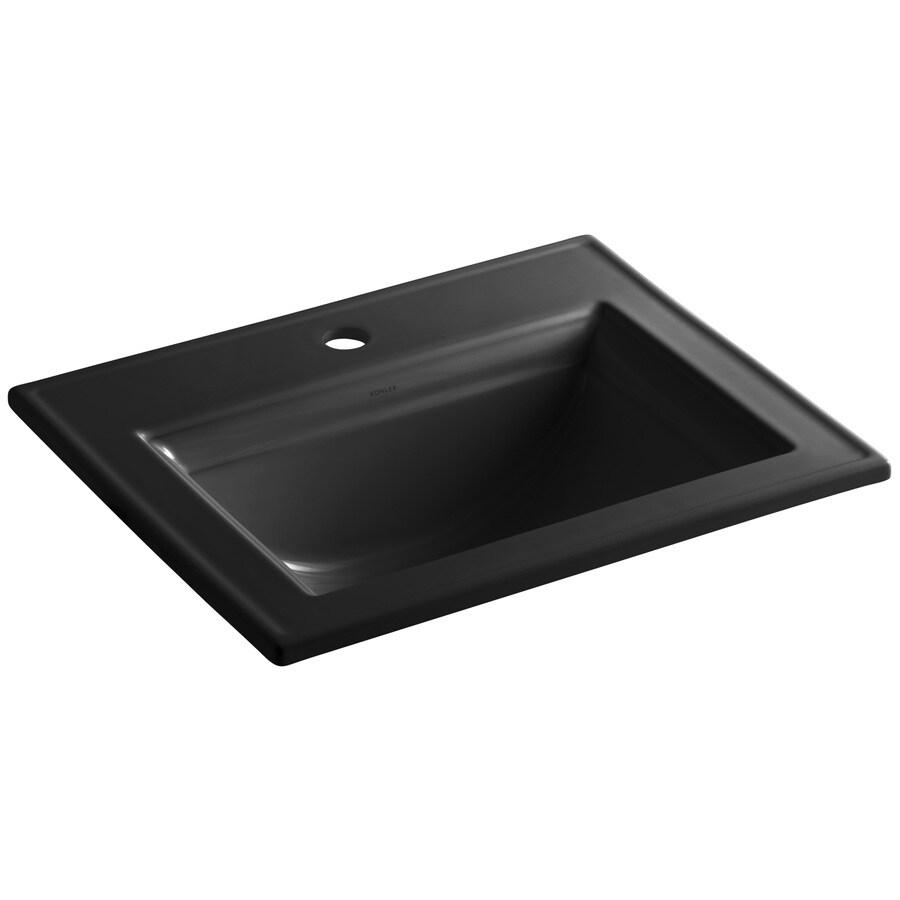 KOHLER Memoirs Black Black Drop-in Rectangular Bathroom Sink with Overflow