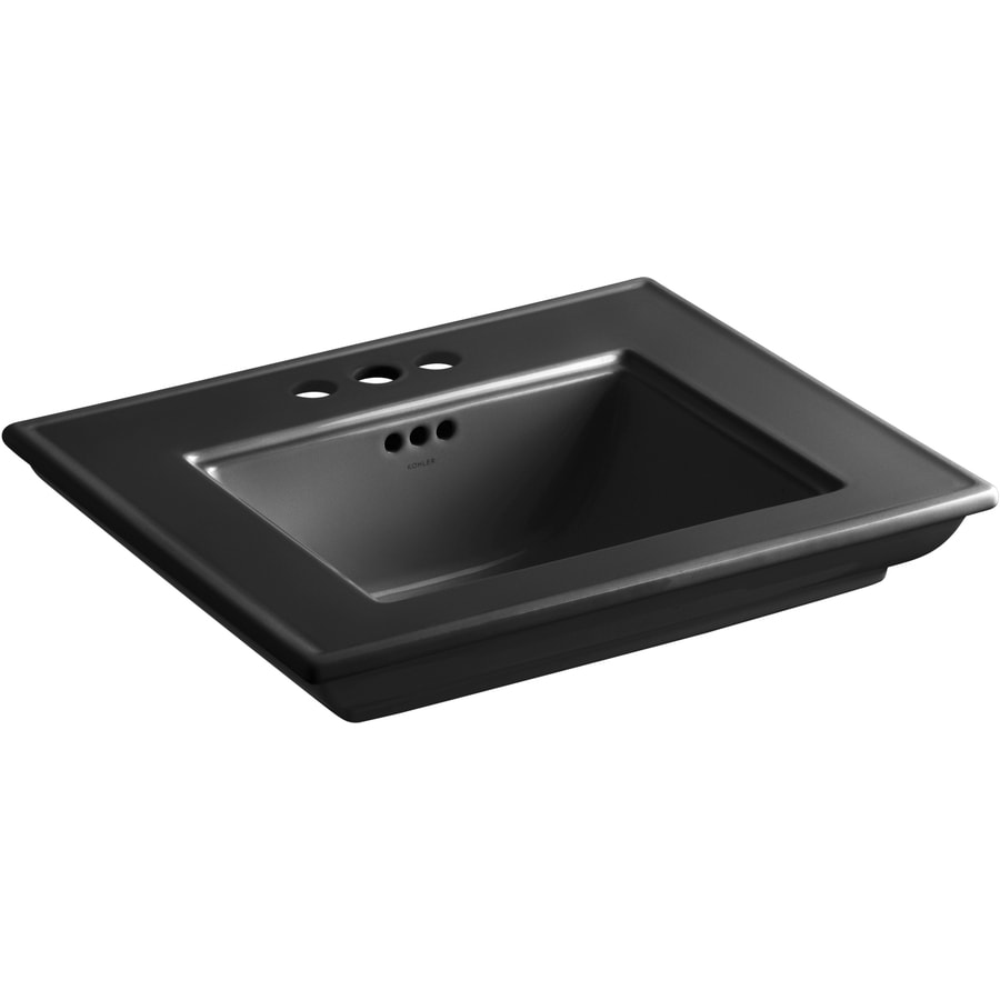 KOHLER Memoirs 24.5-in L x 20.5-in W Black Fire Clay Rectangular Pedestal Sink Top