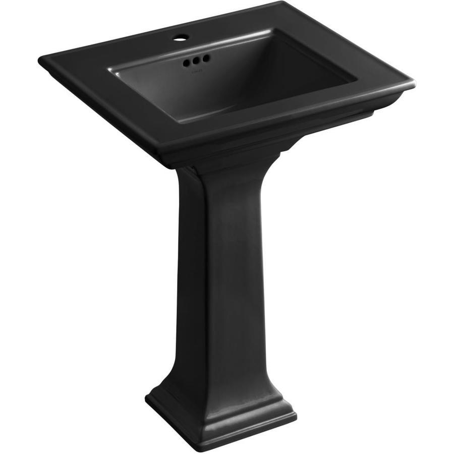 KOHLER Memoirs 34.75-in H Black Black Fire Clay Pedestal Sink