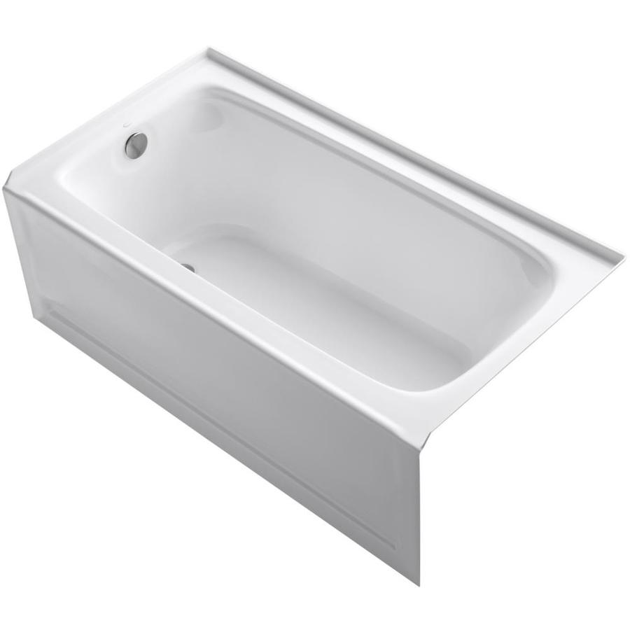 Shop kohler bancroft white acrylic rectangular alcove for Deep alcove bathtubs