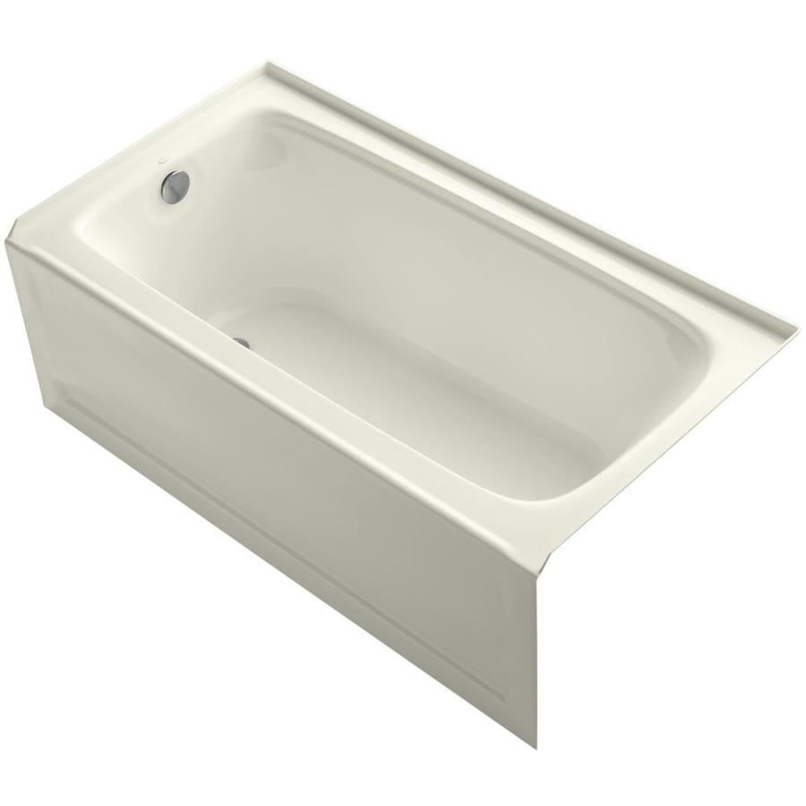 KOHLER Bancroft Biscuit Acrylic Rectangular Alcove Bathtub with Left-Hand Drain (Common: 32-in x 60-in; Actual: 20-in x 32-in x 60-in)