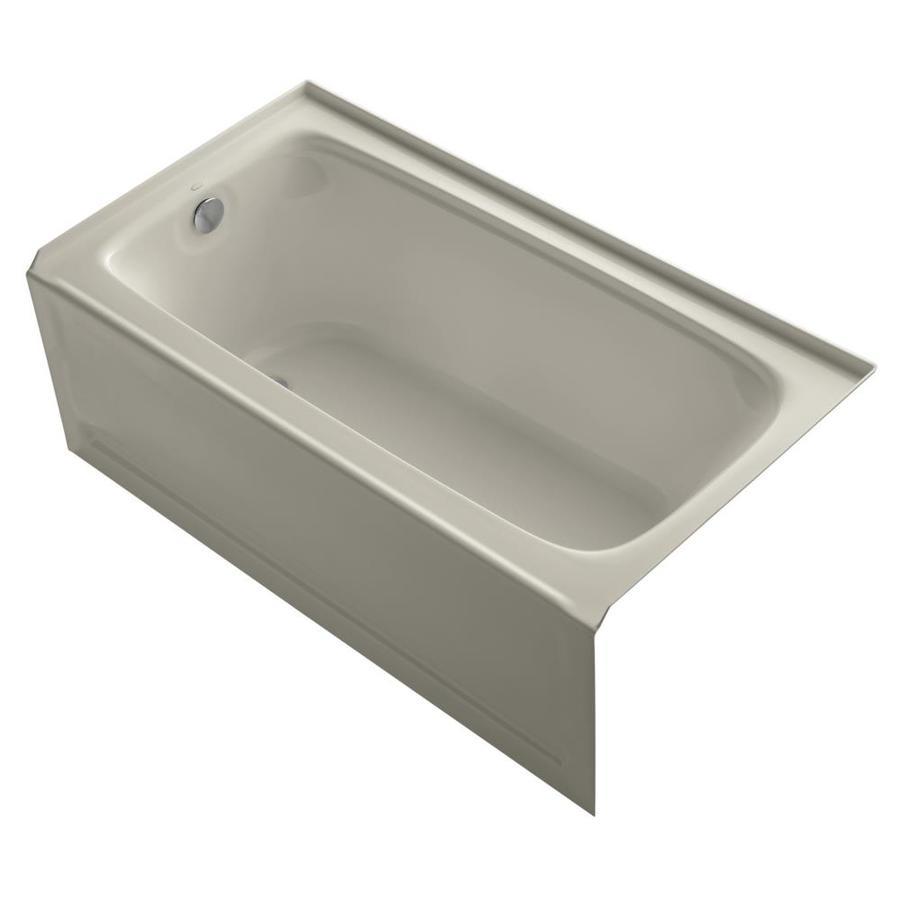KOHLER Bancroft Sandbar Acrylic Rectangular Alcove Bathtub with Left-Hand Drain (Common: 32-in x 60-in; Actual: 20-in x 32-in x 60-in)