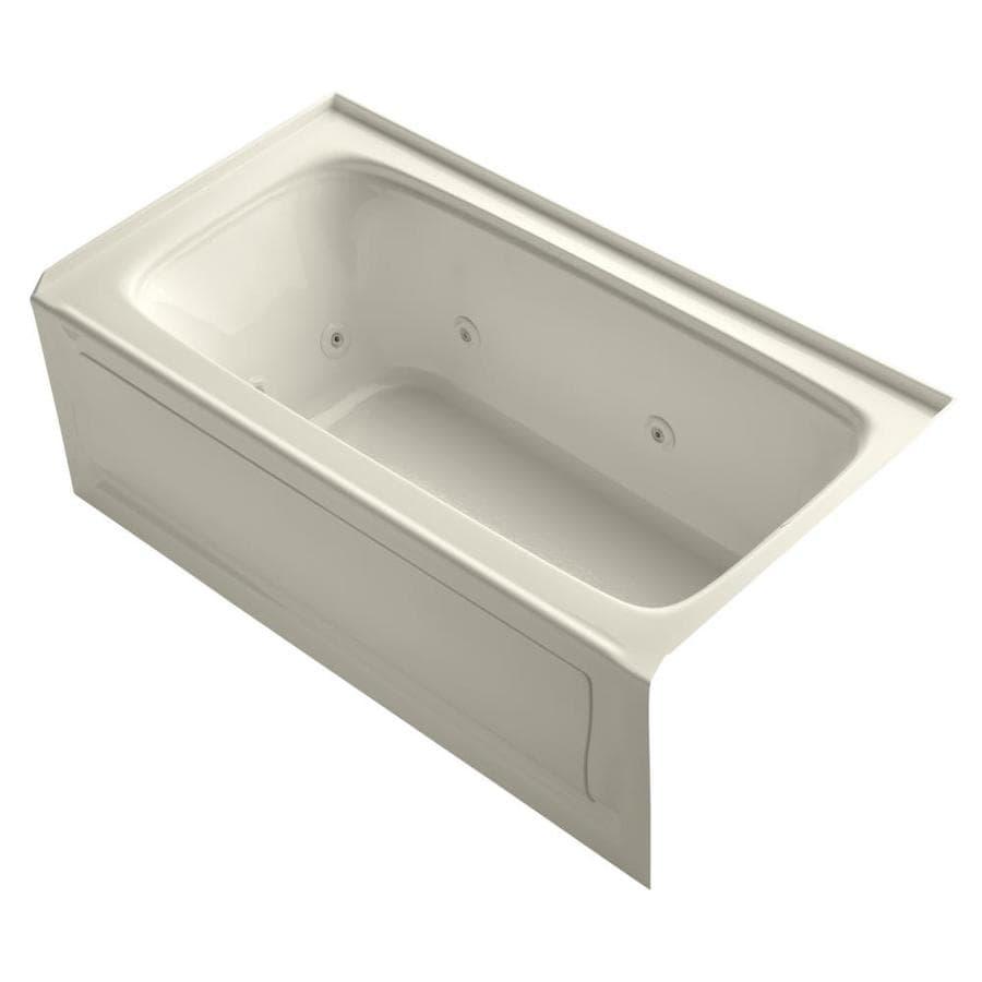 KOHLER Bancroft Almond Acrylic Rectangular Whirlpool Tub (Common: 32-in x 60-in; Actual: 20-in x 32-in x 60-in)