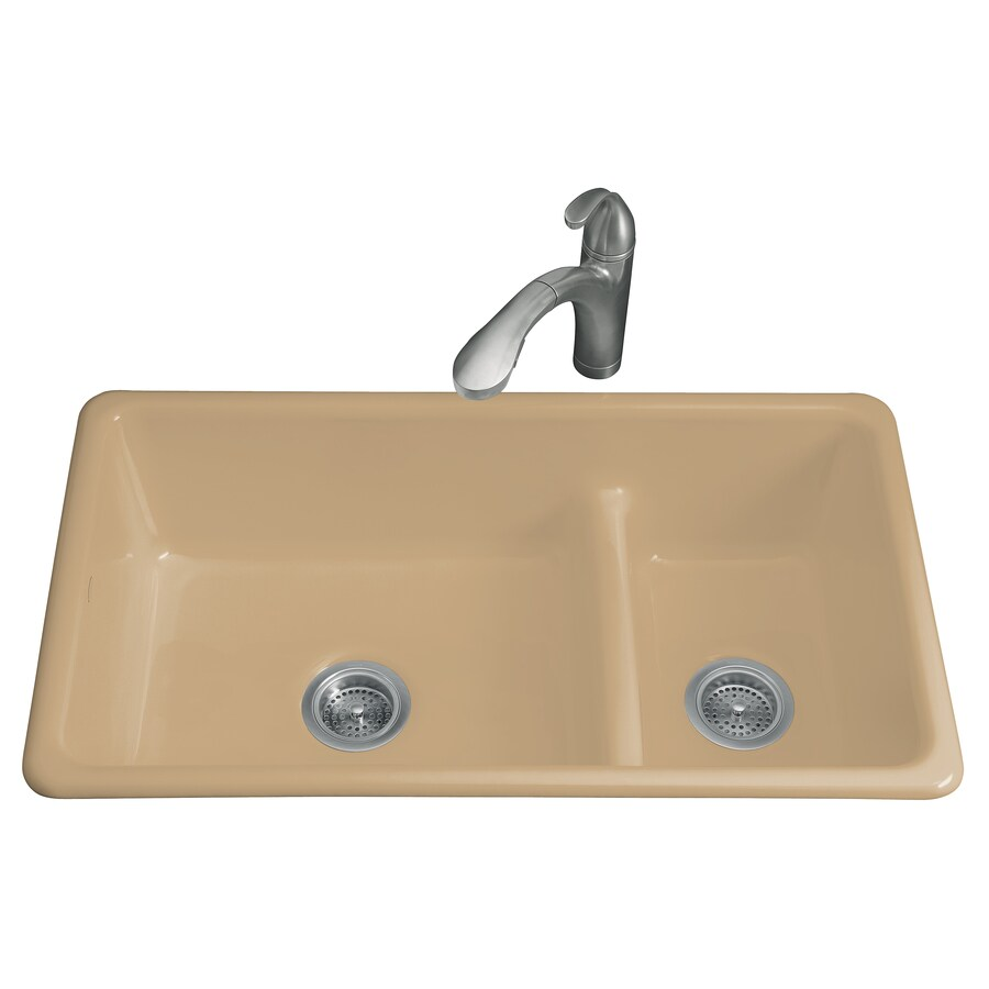 KOHLER Iron/Tones 18.75-in x 33-in Mexican Sand Double-Basin Cast Iron Drop-in or Undermount Residential Kitchen Sink