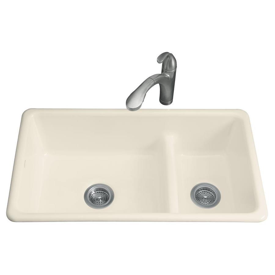 KOHLER Iron/Tones 18.75-in x 33-in Almond Double-Basin Cast Iron Drop-in or Undermount Residential Kitchen Sink