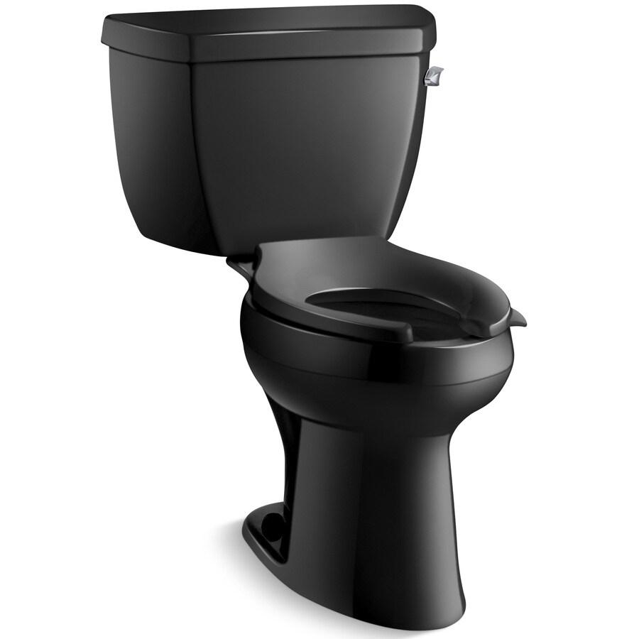 KOHLER Highline Black Black 1.6-GPF (6.06-LPF) 12 Rough-In Elongated Pressure Assist 2-Piece Chair Height Toilet