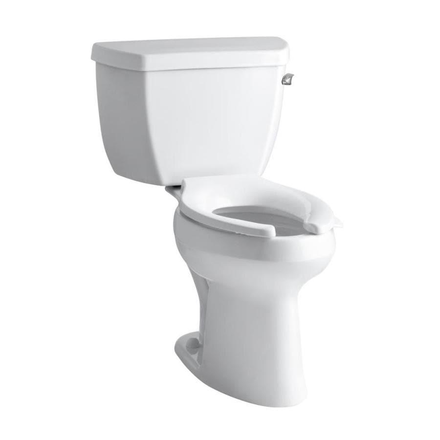 KOHLER Highline Classic White 1.6-GPF (6.06-LPF) 12 Rough-In Elongated Pressure Assist 2-Piece Standard Height Toilet