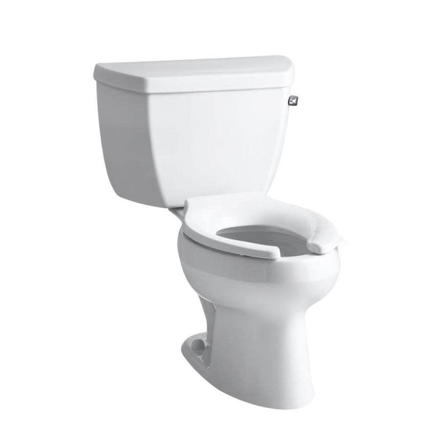 KOHLER Wellworth White 1.6-GPF (6.06-LPF) 12 Rough-In Elongated Pressure Assist 2-Piece Standard Height Toilet