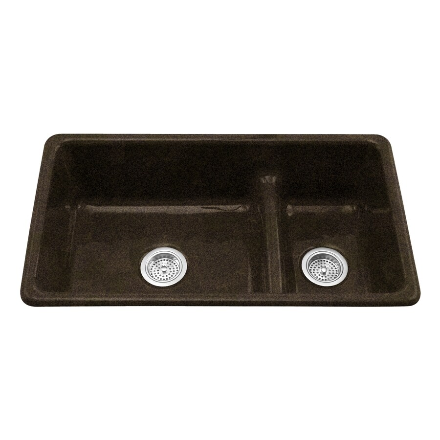 KOHLER Iron/Tones 18.75-in x 33-in Black and Tan Double-Basin Cast Iron Drop-in or Undermount Residential Kitchen Sink