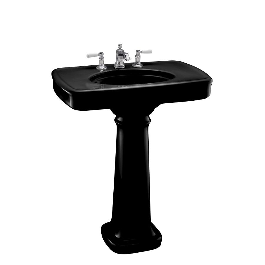 KOHLER Bancroft 35.25-in H Black Black Fire Clay Pedestal Sink